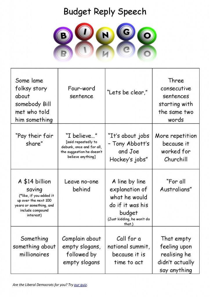 Budget Reply bingo